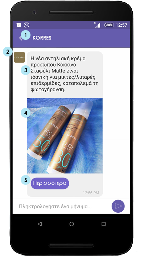 Phone showing a Viber business message (viber sender, message, included image and button)